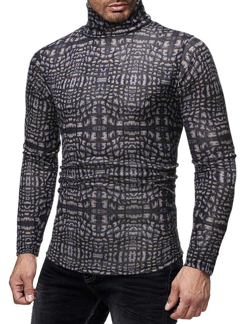 Ericdress Turtleneck Print Casual Long Sleeve Slim Mens Shirt