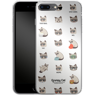 Apple iPhone 7 Plus Silikon Handyhuelle - Grumpy Cat Pattern von Grumpy Cat