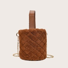 Quilted Chain Fluffy Bucket Bag