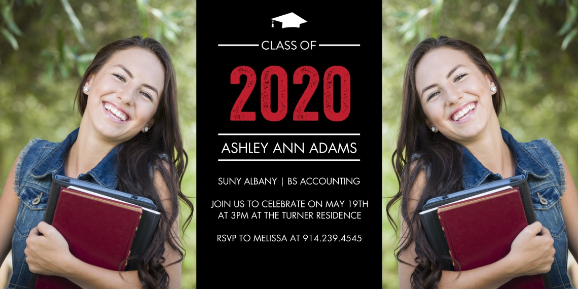 2020 Graduation Invitations Flat Matte Photo Paper Cards with Envelopes, 4x8, Card & Stationery -2020 Grad Basic Cap by Tumbalina