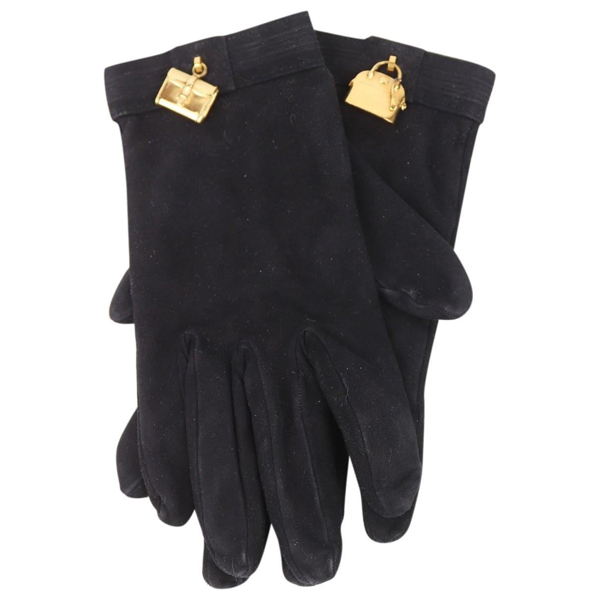 Hermes - Gants   pour femme en cuir - noir