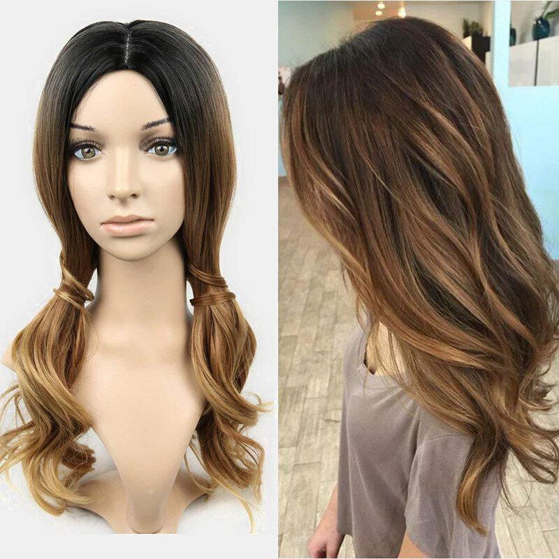 Black Gradient Long Curly Hair Chemical Fiber Bangs Middle Part Heat Resistant Wigs