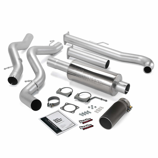 Monster Exhaust System Single Exit Black Tip 01-04 Chevy 6.6L SCLB Banks Power 48628-B