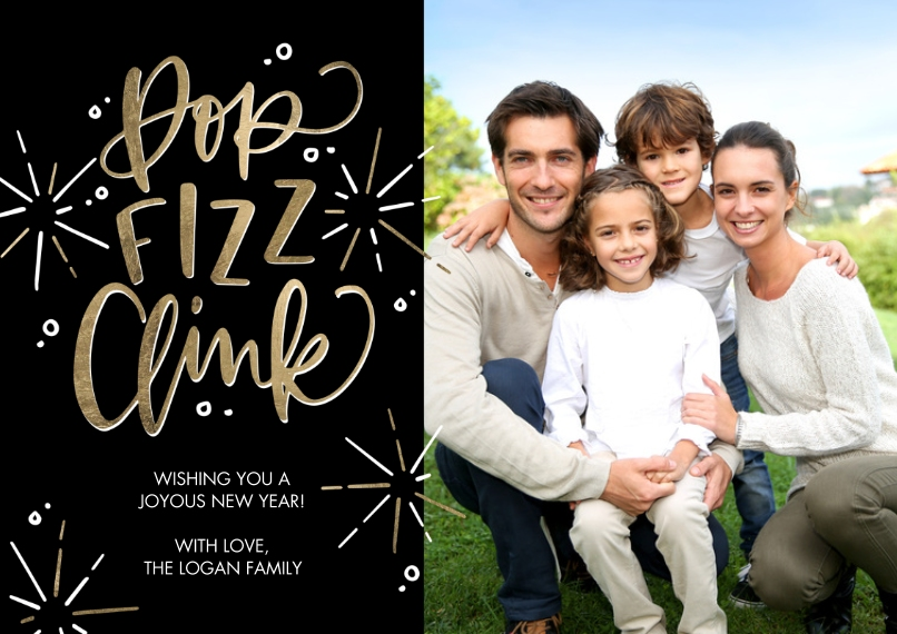 New Years Photo Cards 5x7 Cards, Standard Cardstock 85lb, Card & Stationery -New Year Pop Fizz Clink by Tumbalina