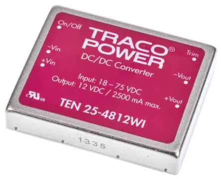 TRACOPOWER TEN 25WI 25 W, 30 W Isolated DC-DC Converter Through Hole, Voltage in 18 → 75 V dc, Voltage out 12V dc