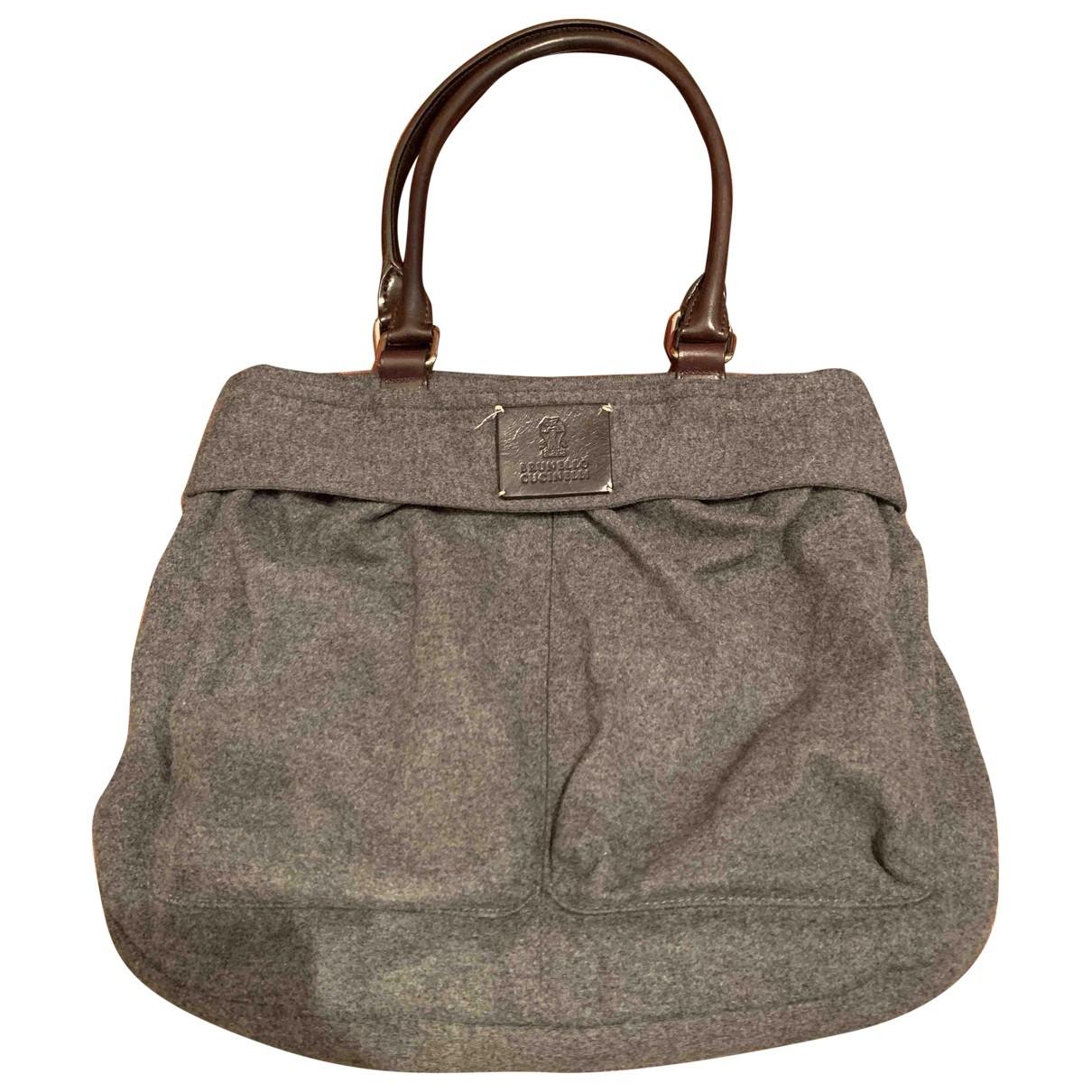 Brunello Cucinelli - Sac a main   pour femme en laine - gris