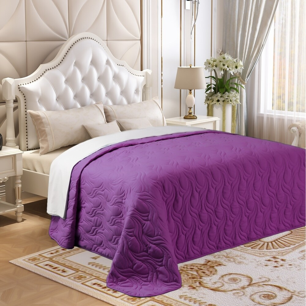 Microfiber Embroidered King Quilt Purple