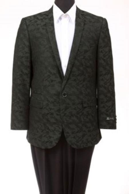 Tazio Abstract Design Slim Fit Fashion Jacket Green camouflage blazer