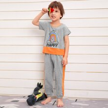 Toddler Boys Cartoon Rainbow Contrast Sideseam PJ Set
