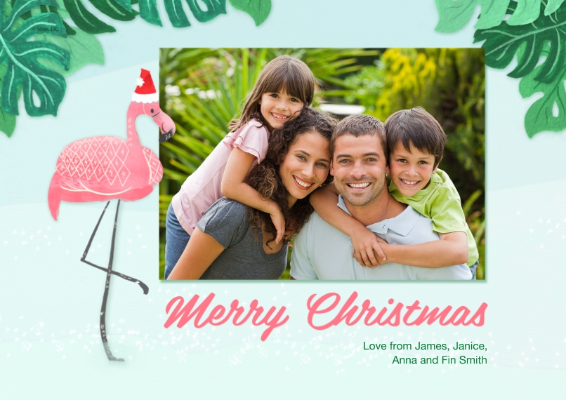 Fun & Festive 5x7 Cards, Premium Cardstock 120lb with Scalloped Corners, Card & Stationery -Tropical Flamingo Merry Christmas by Hallmark