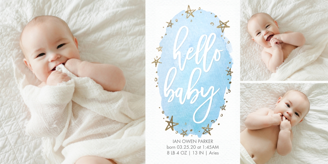 Baby Announcements Flat Glossy Photo Paper Cards with Envelopes, 4x8, Card & Stationery -Baby Watercolor Stars Gold by Tumbalina