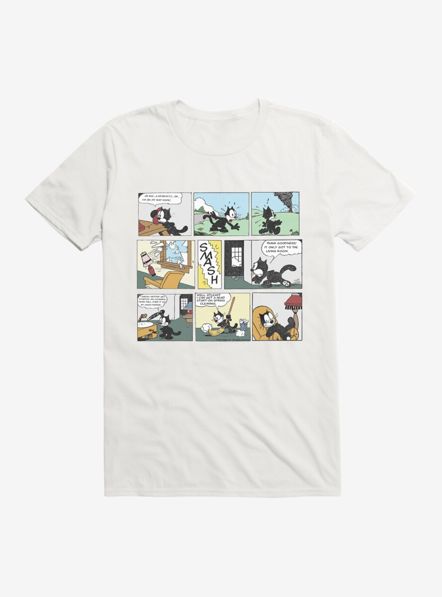 Felix The Cat Cleaning Up Comic Strip T-Shirt