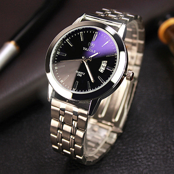 YAZOLE Stainless Steel Analog Display Date Waterproof Quartz Watch Business Wristwatch for Men