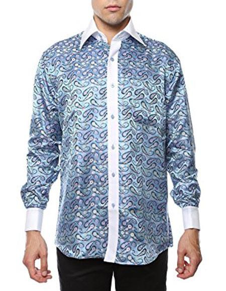 Men's Shiny Satin Floral Spread Collar Paisley Shirt Light Blue-White