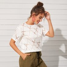 Metallic Geo Print Short Sleeve Tee
