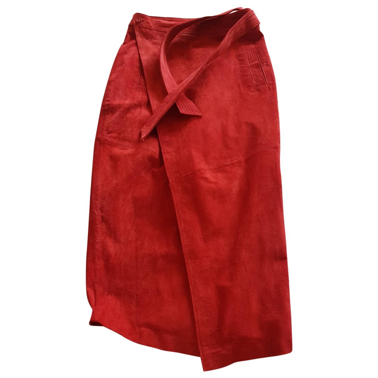 Asos - Jupe   pour femme en cuir - bordeaux