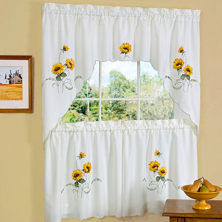 Sunshine 3-pc. Rod-Pocket Kitchen Curtain Set, One Size , Yellow