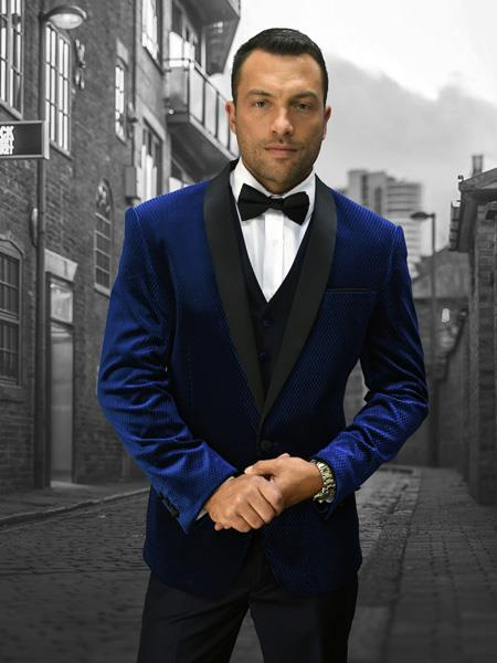 Alberto Nardoni Mens Velvet Suit Jacket & Pants (Matching ) Navy