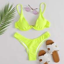 Neon Yellow Textured Underwire Bikini Swimsuit