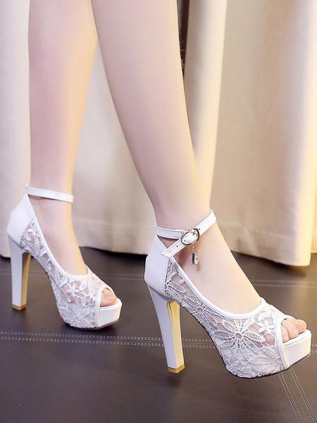Milanoo Peep Toe Pumps Lace Patchwork Ankle Strap Rhinestone Decor Platform Chunky High Heel Shoes