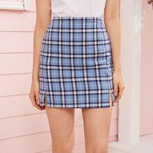 Split Side Plaid Mini Skirt
