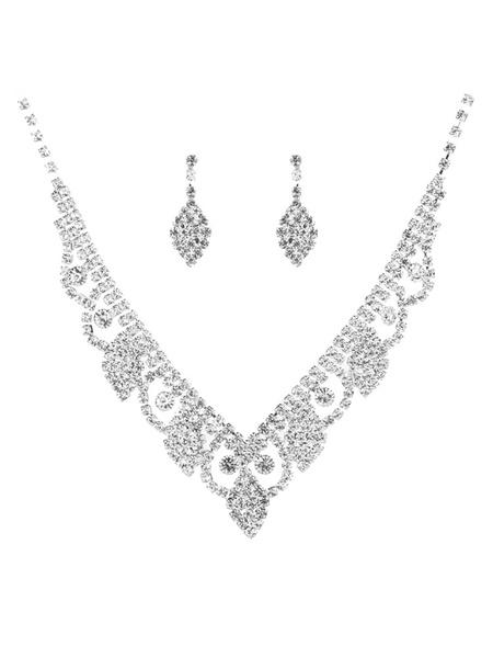Milanoo Wedding Jewelry Set Silver Women Rhinestones Bridal Necklace Earring Set