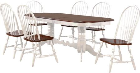 DLU-ADW4296-C30-AW7PC 7-Piece Dining Room Set with Extendable Dining Table + 6X Dining Chairs  in White and