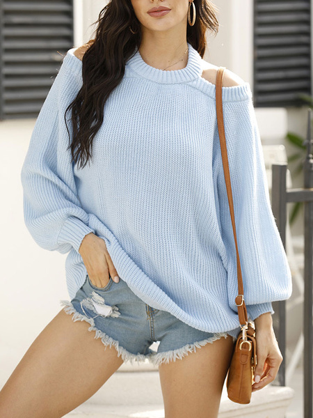 Milanoo Women Pullover Sweater Grey Cut Out Jewel Neck Long Sleeves Open Shoulder Acrylic Sweaters