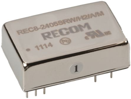 Recom REC8 8W Isolated DC-DC Converter Through Hole, Voltage in 9 → 18 V dc, Voltage out 5V dc Medical Approved