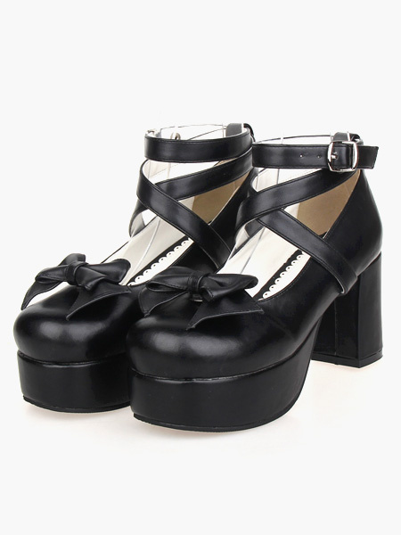 Milanoo Zapatos de lolita de PU negro con correas