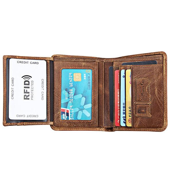 RFID Antimagnetic Vintage Genuine Leather Large Capacity Tri-fold Wallet For Men