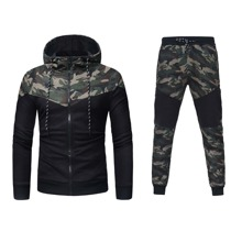 Men Camo Print Zip Up Drawstring Hoodie & Sweatpants