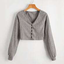 Solid Button Front Cardigan