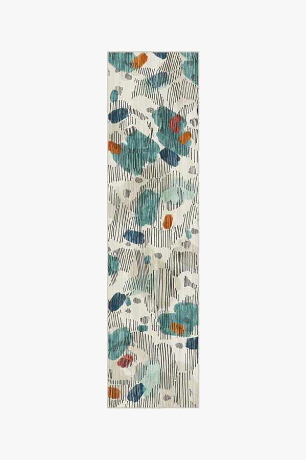 Washable Rug Cover & Pad | Leona Teal Rug | Stain-Resistant | Ruggable | 2.5'x10'