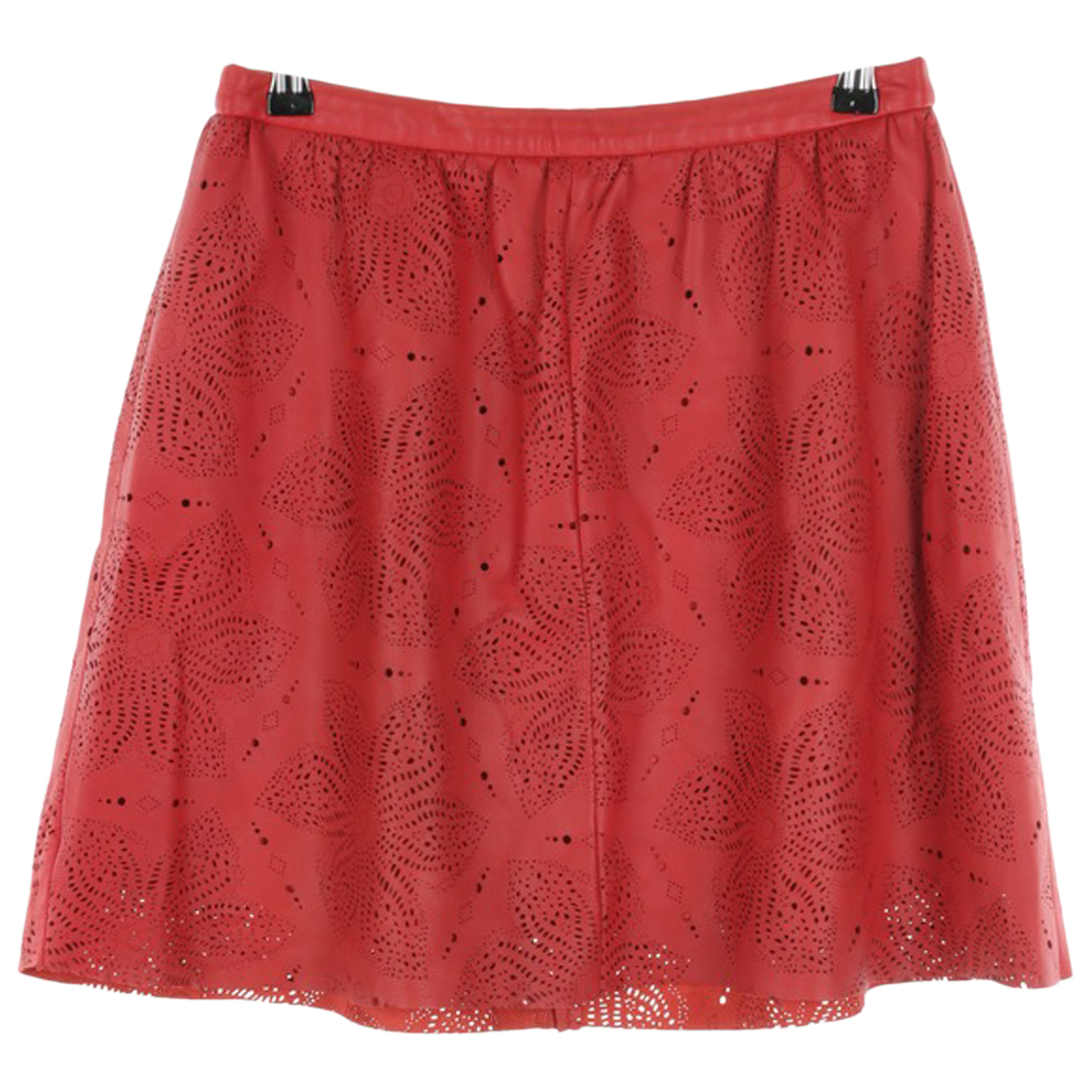 Massimo Dutti N Red Leather skirt for Women M International