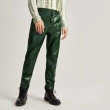 Pantalones PU unicolor con cremallera