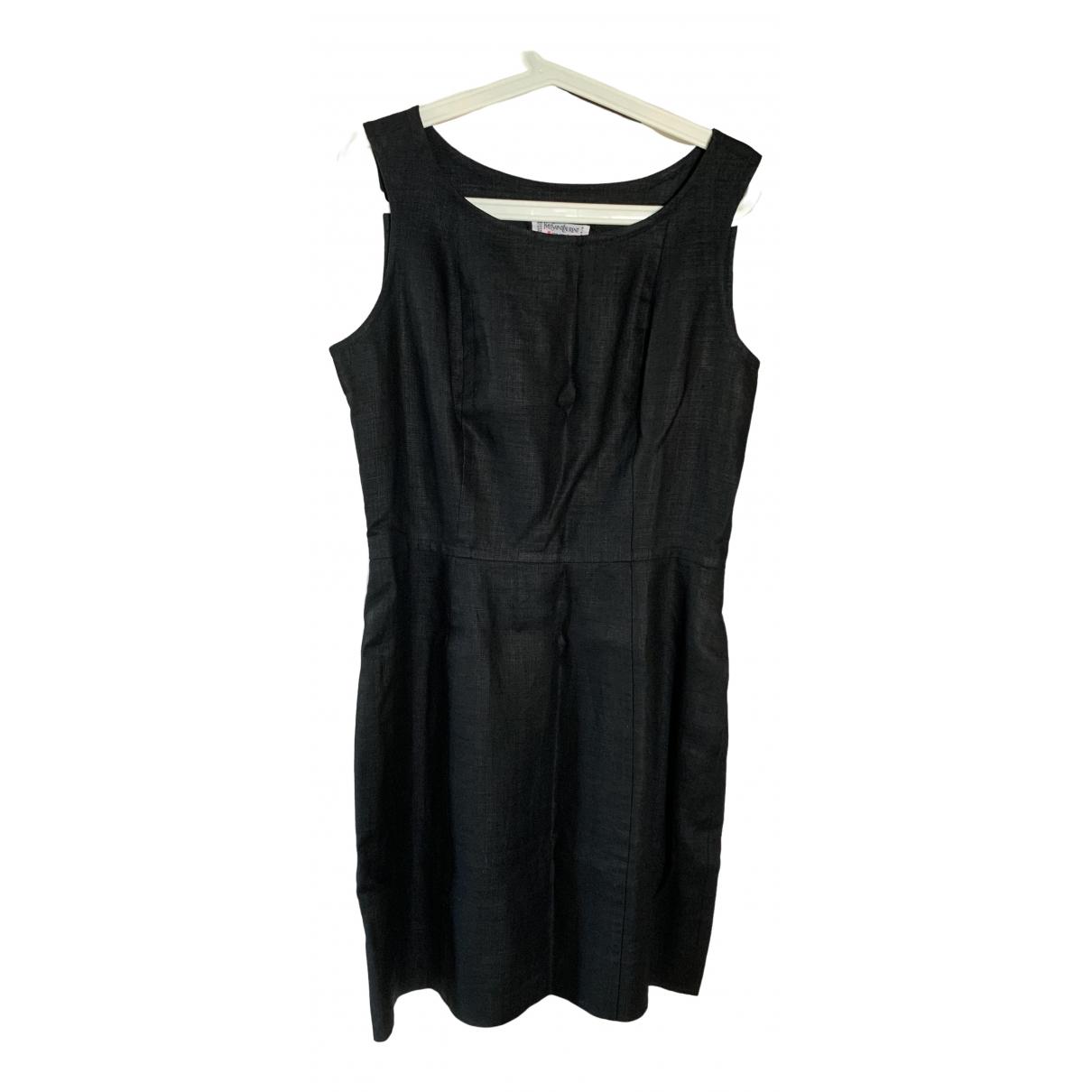 Yves Saint Laurent - Robe   pour femme en lin - noir