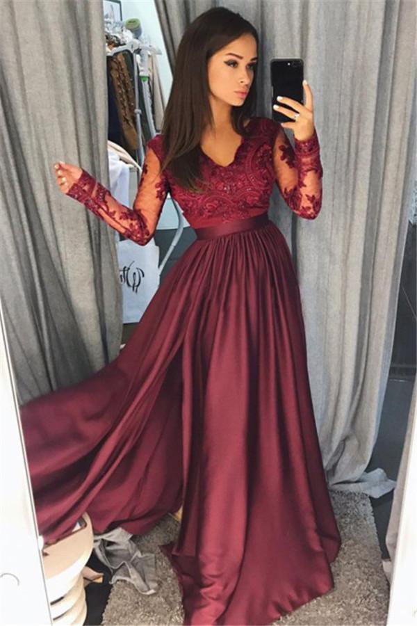 Manches longues bordeaux dentelle robe de bal pas cher col en V nouvelle arrivee formelle robe de soiree avec Split FB0205