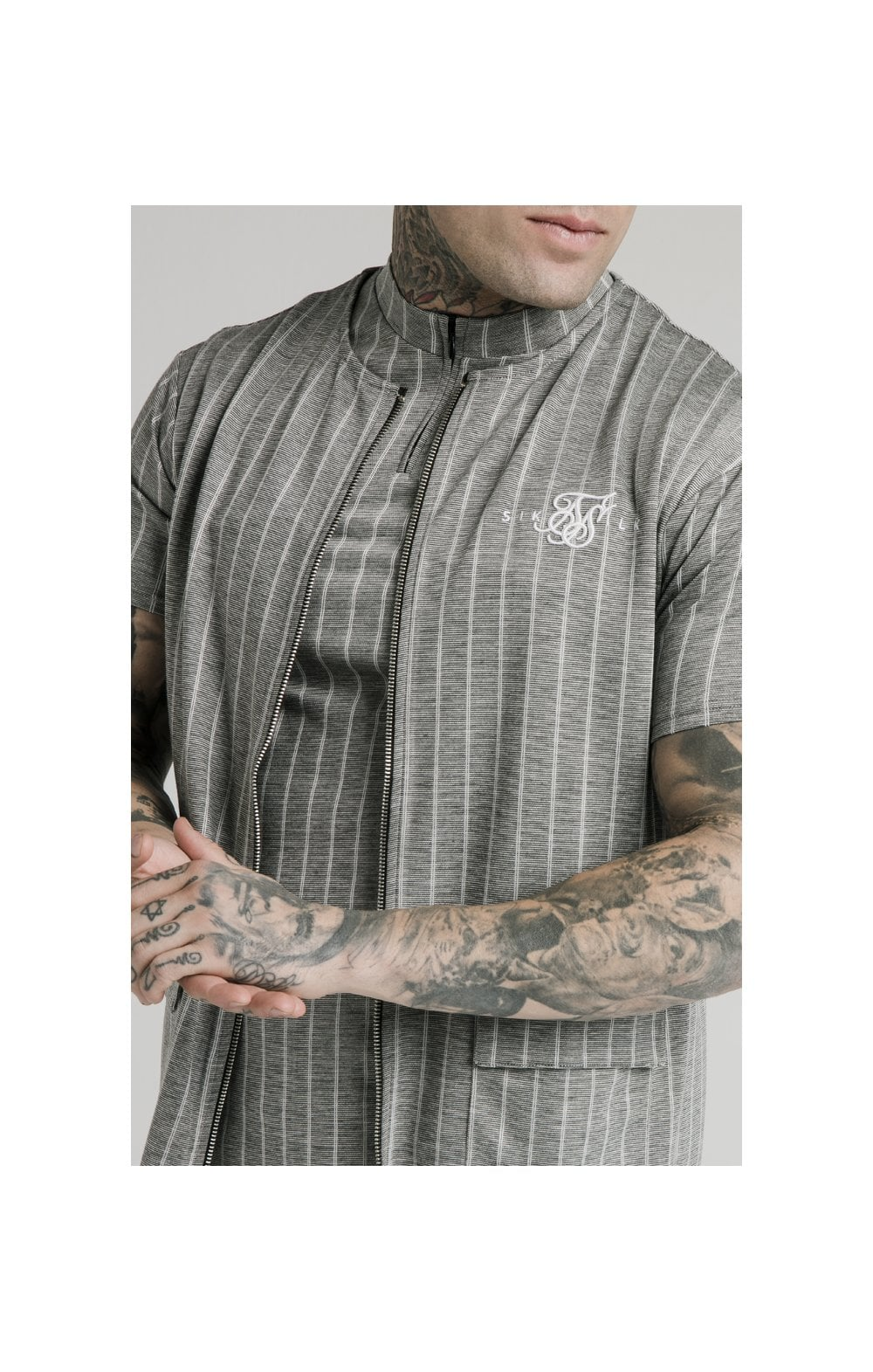 SikSilk Smart Wear Vest - Grey Pin Stripe MEN SIZES TOP: Extra Large