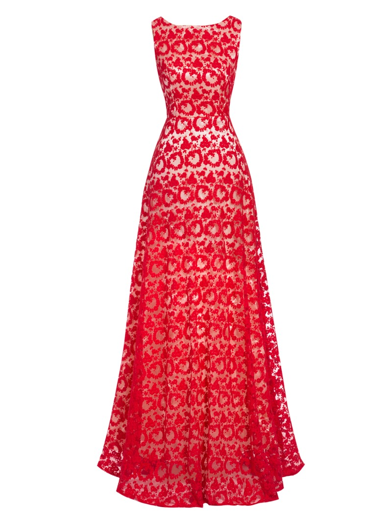 Ericdress A Line Scoop Neck Backless Lace Long Evening Dress