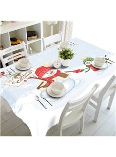 3D Lovely Snowman Father and Kid Printed Winter Scenery Table Cloth Cover