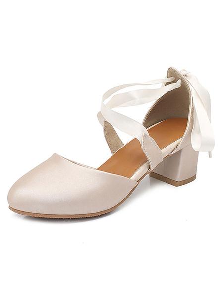 Milanoo Zapatos de tacon bajo con tacon bajo y correa de tobillo D'orsay Zapatos de mujer