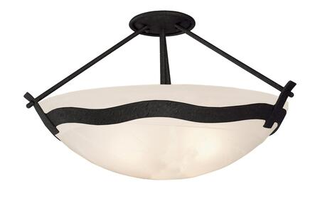 Aegean 5457B/VIC 3-Light Semi Flush Mount Ceiling Light in Black with Victorian Penshell Natural Bowl Glass