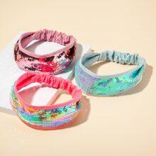 3 Stuecke Kleinkind Maedchen Kopfband mit Pailletten Dekor