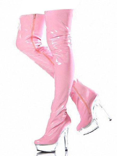 Milanoo Rosado Botas de Mujer Sobre la Rodilla 2020 Plataforma con Cremallera de Tacon Alto Botas Altas hasta Pierna Zapatos Sexy