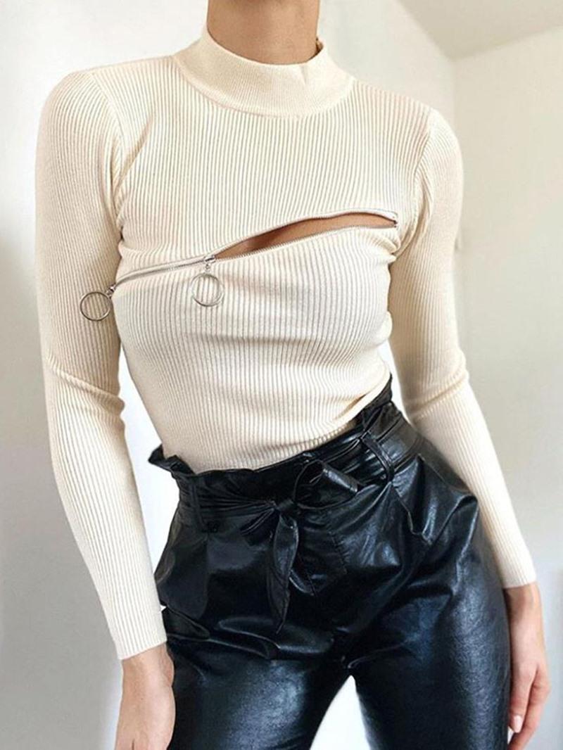 Ericdress Regular Thick Zipper Long Sleeve Fall Women's Sweater