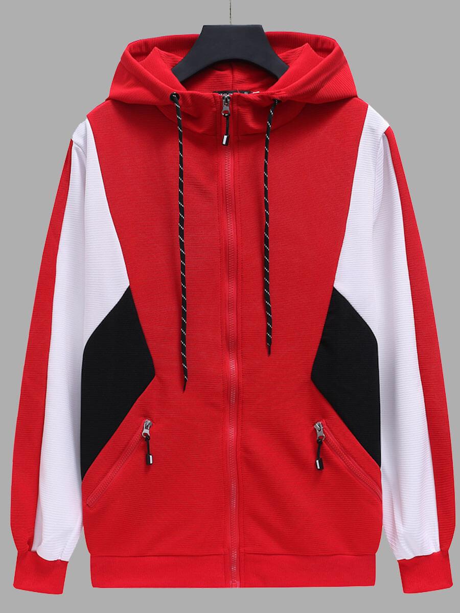 LW Lovely Sportswear Color-lump Zipper Design Red Coat