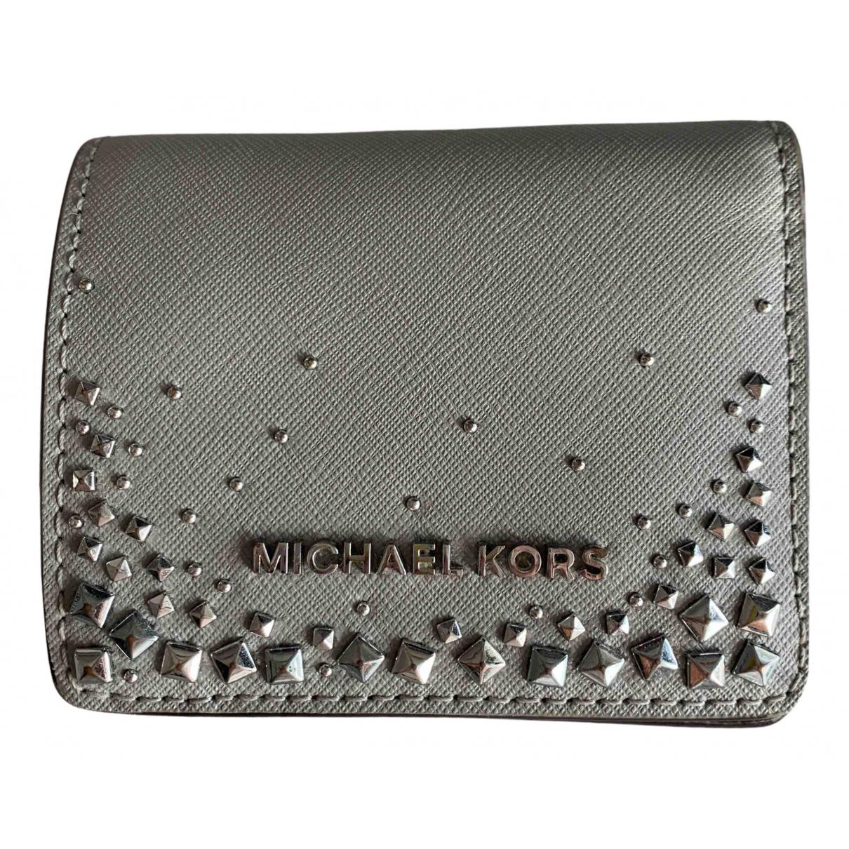 Michael Kors - Portefeuille   pour femme en cuir verni - gris