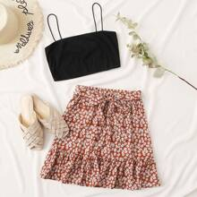 Crop Cami Top and Tie Front Ditsy Floral Skirt Set