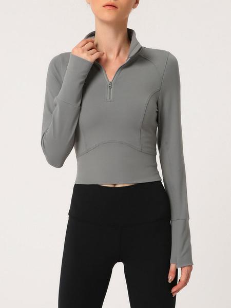 Milanoo Yoga Tops Long Sleeve Half Zip Workout Sweatshirt